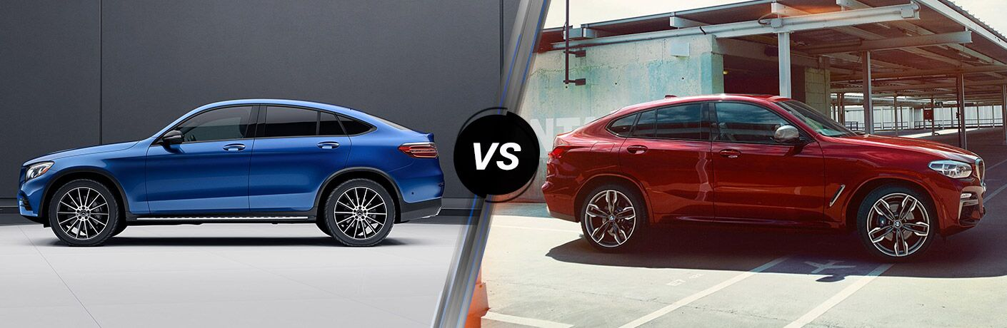 2019 MB GLC Coupe exterior drivers side vs 2019 BMW X4 SUV exterior passenger side profile