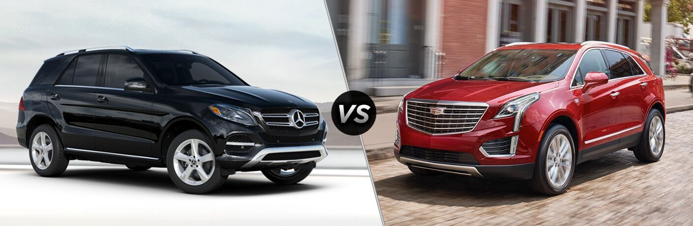 2019 MB GLE SUV exterior front fascia and passenger side vs 2019 Cadillac XT5 front fascia and drivers side