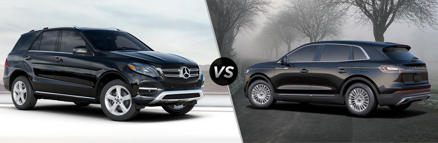 2019 MB GLE SUV exterior front fascia and passenger side vs 2019 Lincoln Nautilus exterior back fascia and driver side