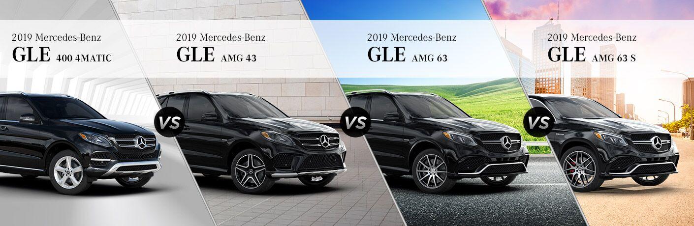 2019 MB GLE SUV trim comparison front fascia and partial passenger side