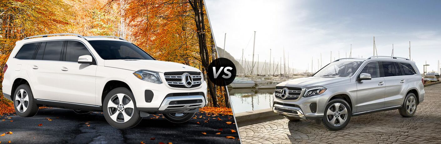 2019 MB GLS 450 4MATIC exterior front fascia and passenger side vs 2018 MB GLS 450 4MATIC exterior front fascia and drivers side