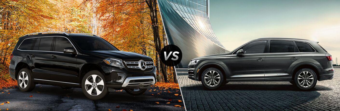 2019 MB GLS exterior front fascia and passenger side vs 2019 Audi Q7 exterior drivers side