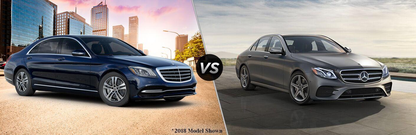 2019 MB S-Class Sedan exterior front fascia and passenger side vs 2019 MB E-Class Sedan exterior front fascia and passenger side