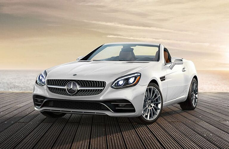 2019 MB SLC 300 Roadster exterior front fascia and drivers side with hood down