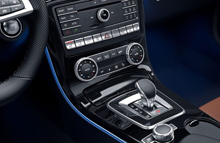 2019 MB SLC 300 roadster interior front cabin close up of shifter and display controls
