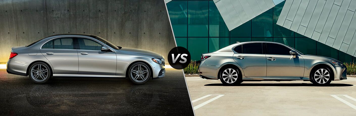 2019 MB E 300 exterior passenger side profile indoors vs 2019 Lexus GS 300 exterior passenger side profile