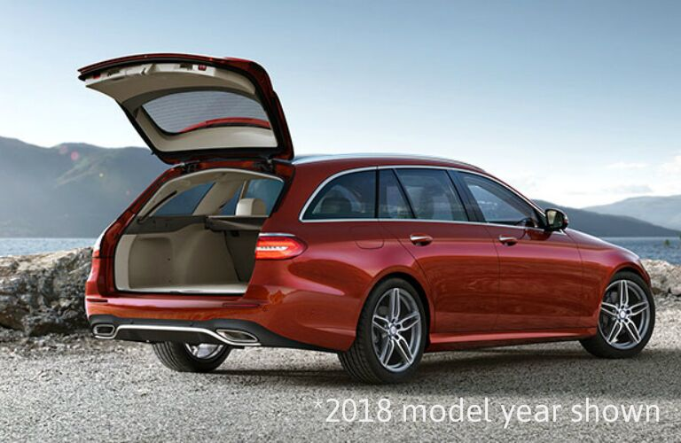red 2019 Mercedes-Benz E-Class Wagon with hatch open