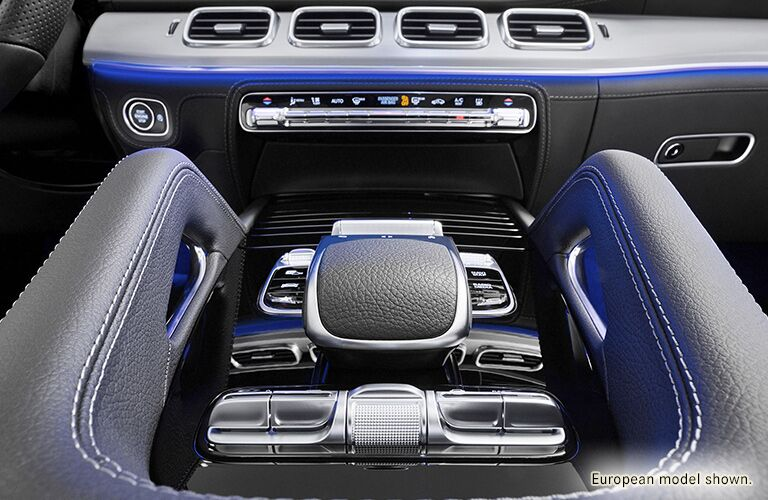 2020 MB GLE SUV interior close up of center console with ambient lighting