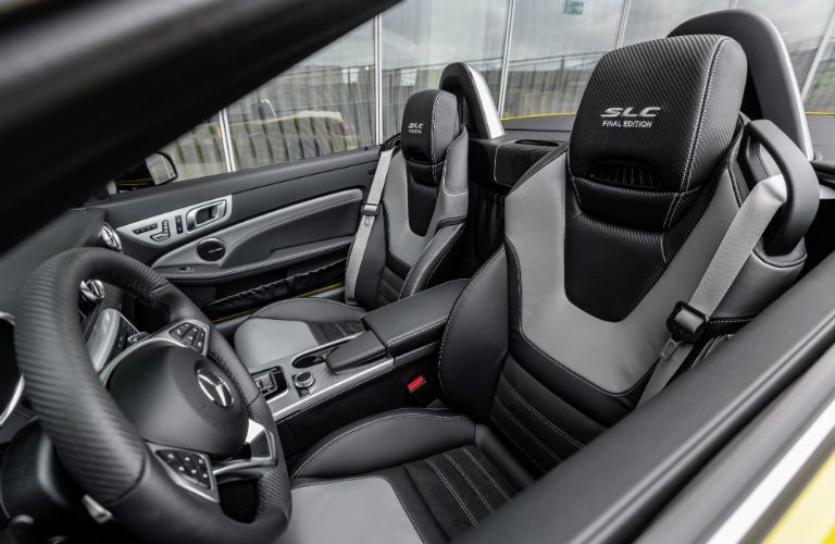 2020 MB SLC Final Edition interior side view of seats and steering wheel