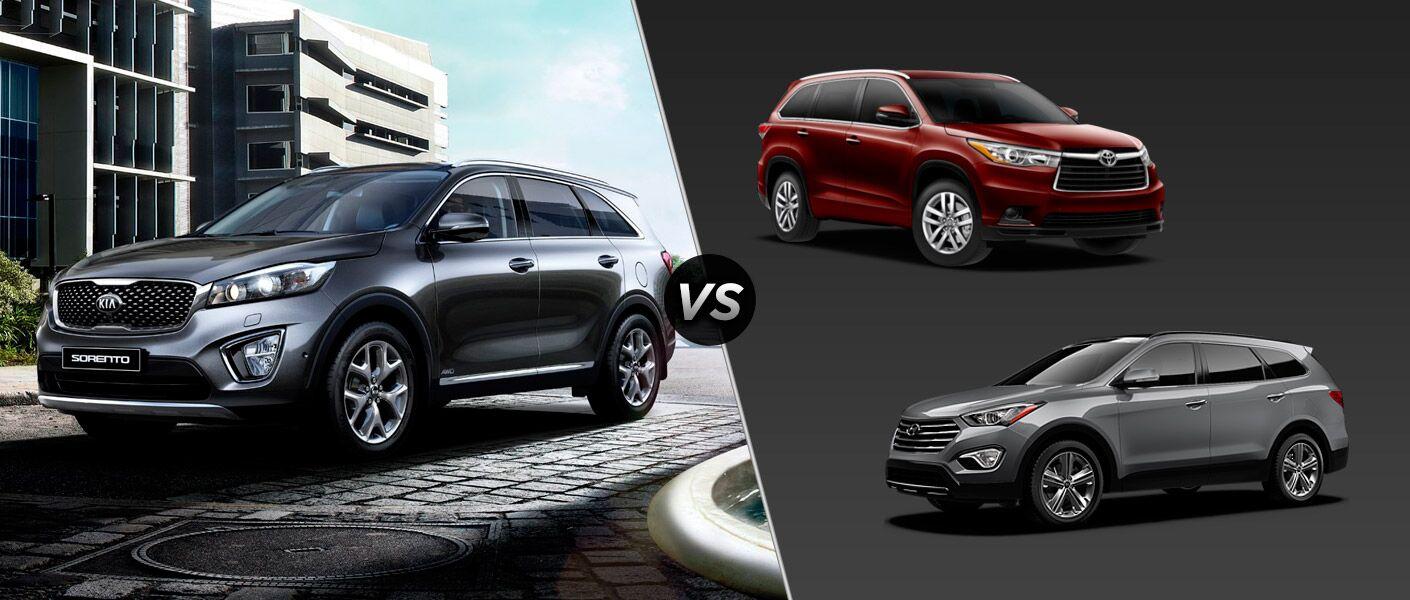 2016 Kia Sorento vs 2016 Toyota Highlander vs 2016 Hyundai Santa Fe SUVs HP cargo room off-road heated steering wheel fuel economy