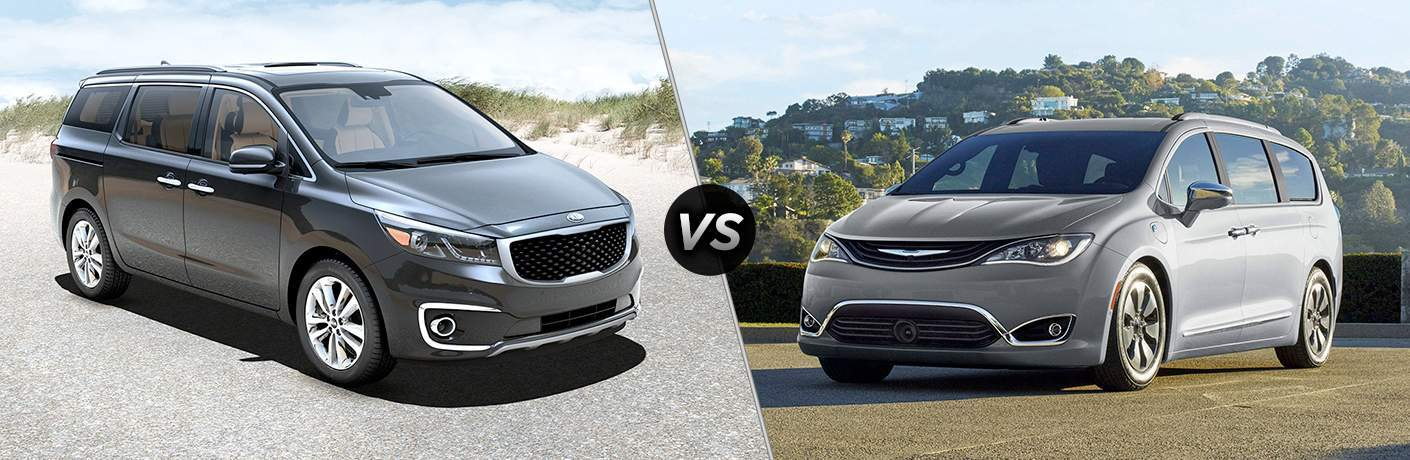 2018 kia sedona and 2018 chrysler pacifica shown on opposite sides of split screen image