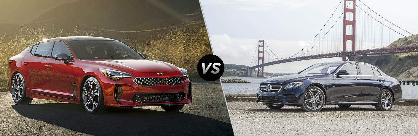split screen image with 2018 kia stinger and 2018 mercedes-benz e 300