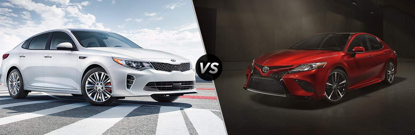 2018 kia optima in white split screen with 2018 toyota camry in red