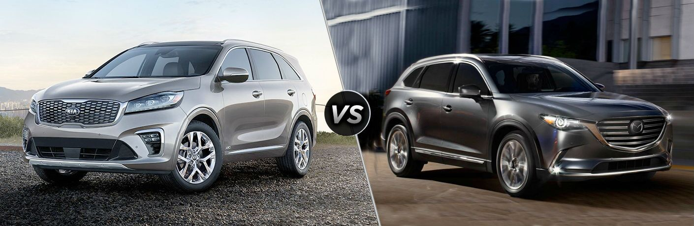 split screen comparison image between 2019 Kia Sorento and 2019 Mazda CX-9