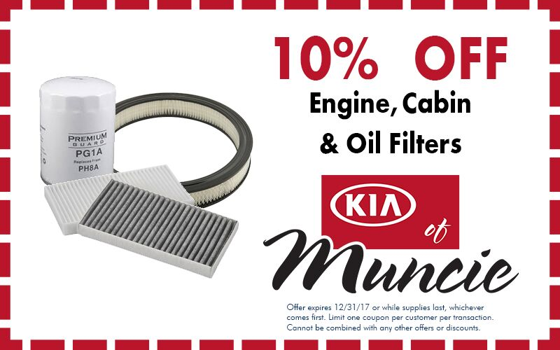 Engine cabin and oil filters special Kia of Muncie IN