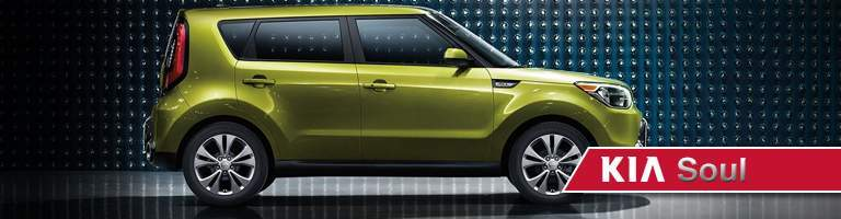 green 2019 Kia Soul with banner
