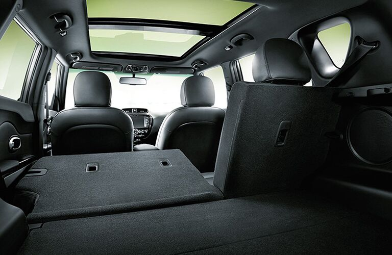 Rear row of seats folded down in the 2018 Kia Soul