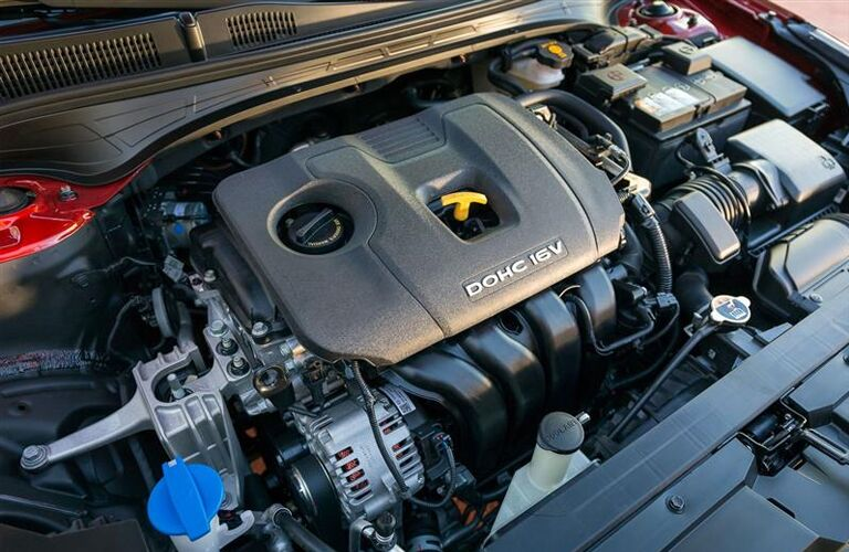 A look under the hood at the inline 4-cylinder engine of the 2019 Kia Forte