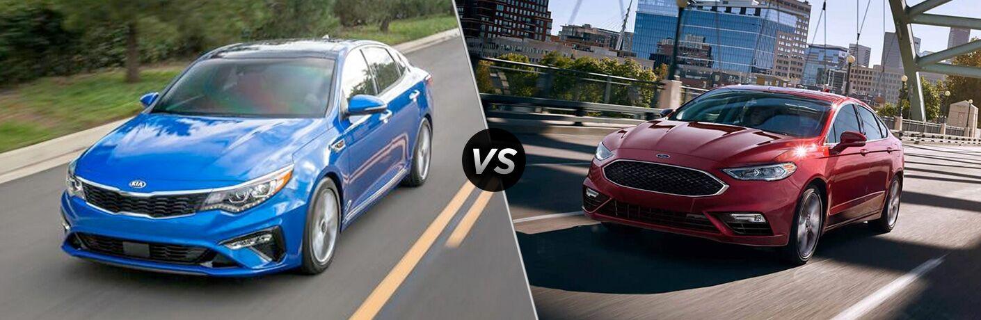 2019 Kia Blue Optima vs 2019 Red Ford Fusion, Dayton OH