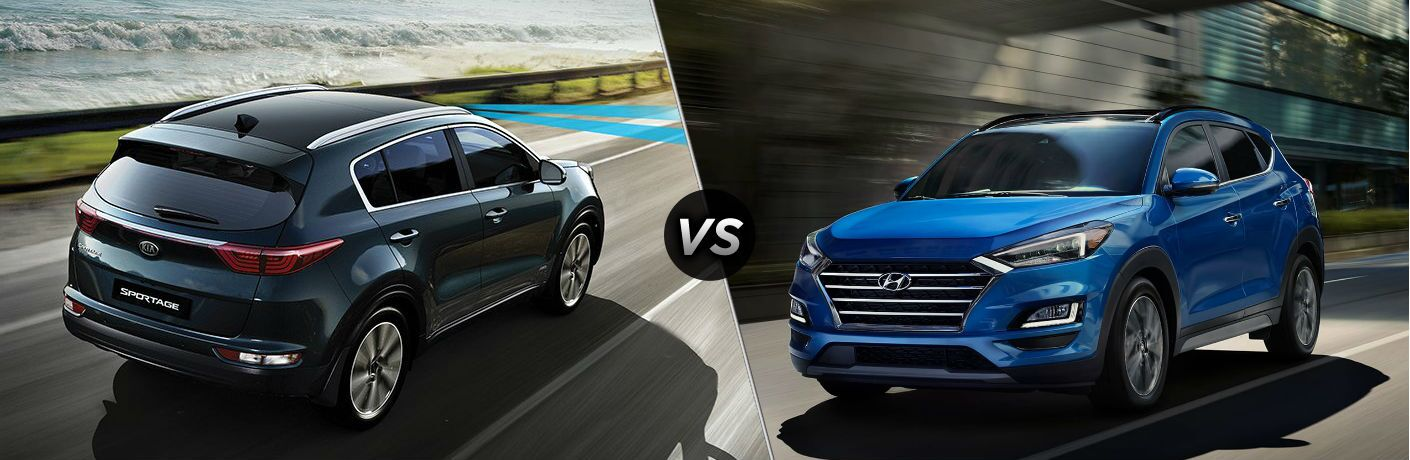 "Overhead passenger side exterior view of a gray 2019 Kia Sportage on the left ""vs"" front driver side exterior view of a blue 2019 Hyundai Tucson on the right"