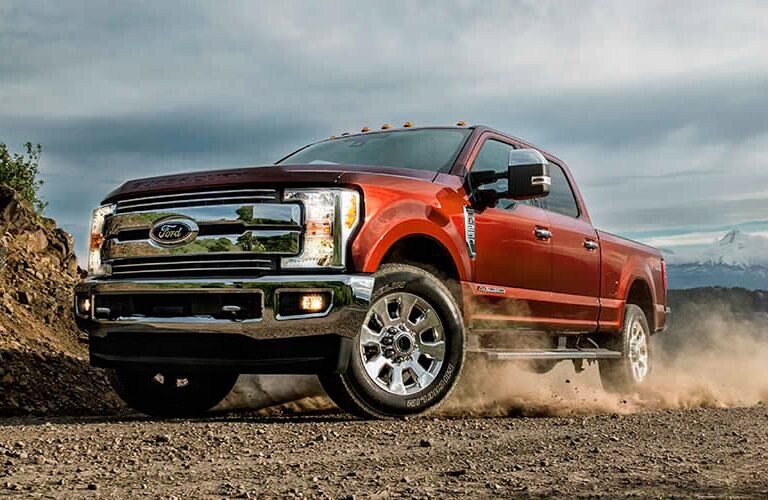 Red 2017 Ford F-350 Super Duty on the Jobsite