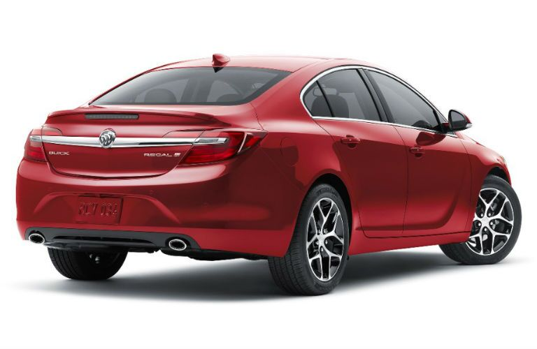 Rear profile of red 2016 Buick Regal