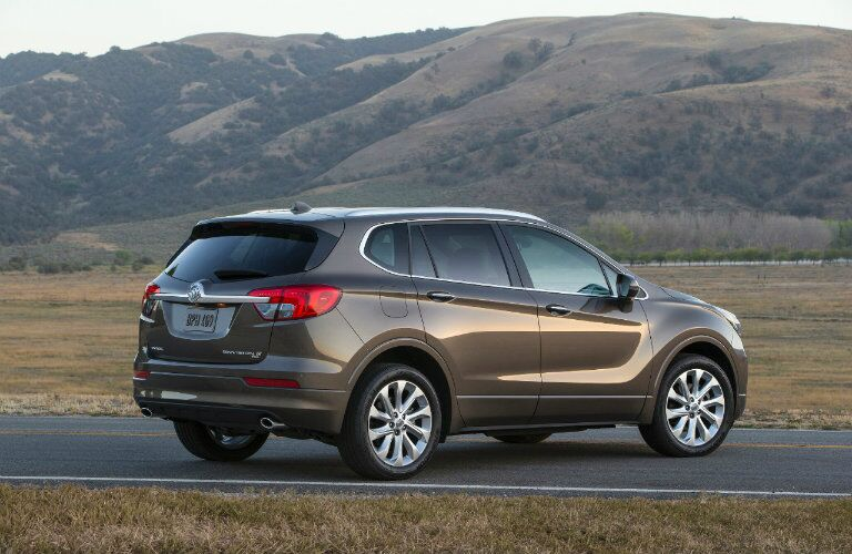 Rear side view of the soon to be available 2016 Buick Envision