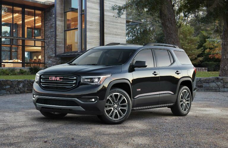 Front profile of black 2017 GMC Acadia