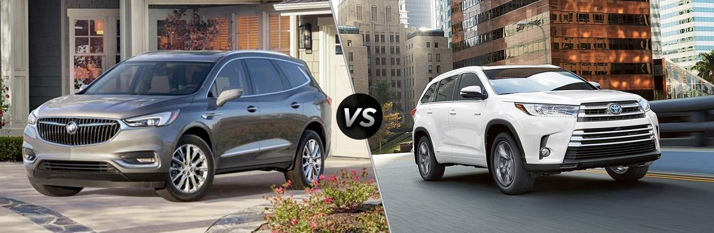 "Exterior side view of a gray 2018 Buick Enclave on the left ""vs"" Exterior side view of a white 2018 Toyota Highlander on the right"