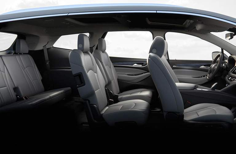 Side view of all three rows of seating in the 2018 Buick Enclave