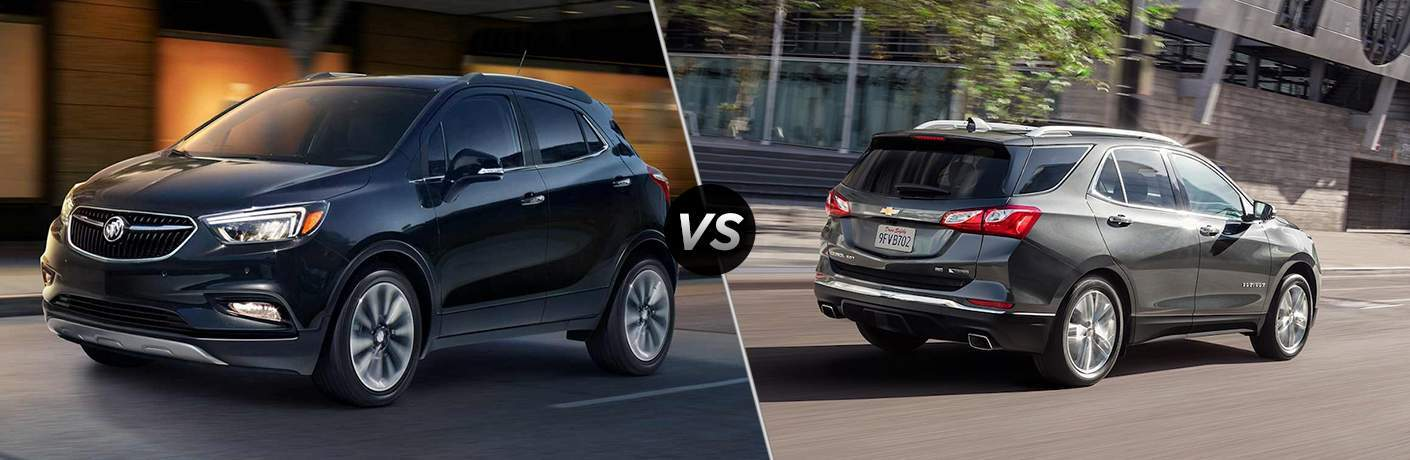 "Dark blue 2018 Buick Encore on left ""vs"" gray 2018 Chevy Equinox on right"