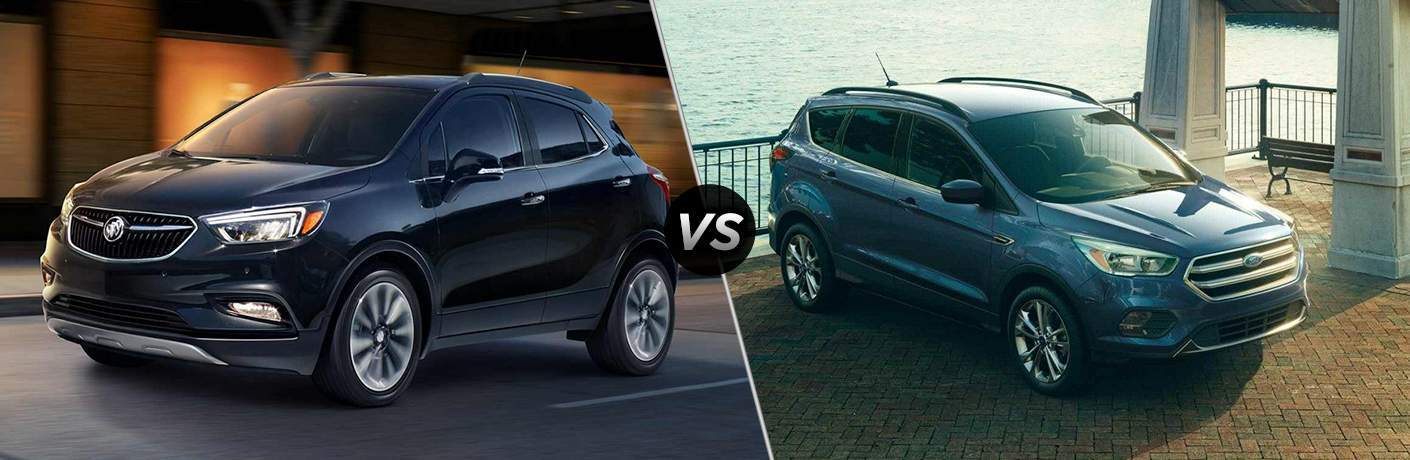 "Exterior view of a black 2018 Buick Encore o left ""vs"" exterior view of a Blue 2018 Ford Escape on right"