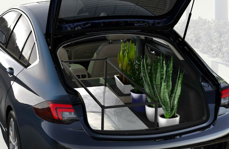 rear cargo hold of black 2018 buick sportback with liftgate open