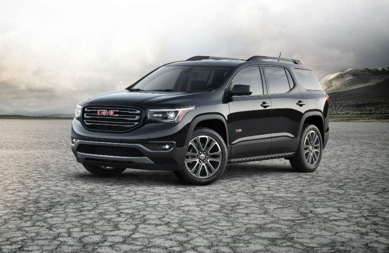Front exterior view of a black 2018 GMC Acadia