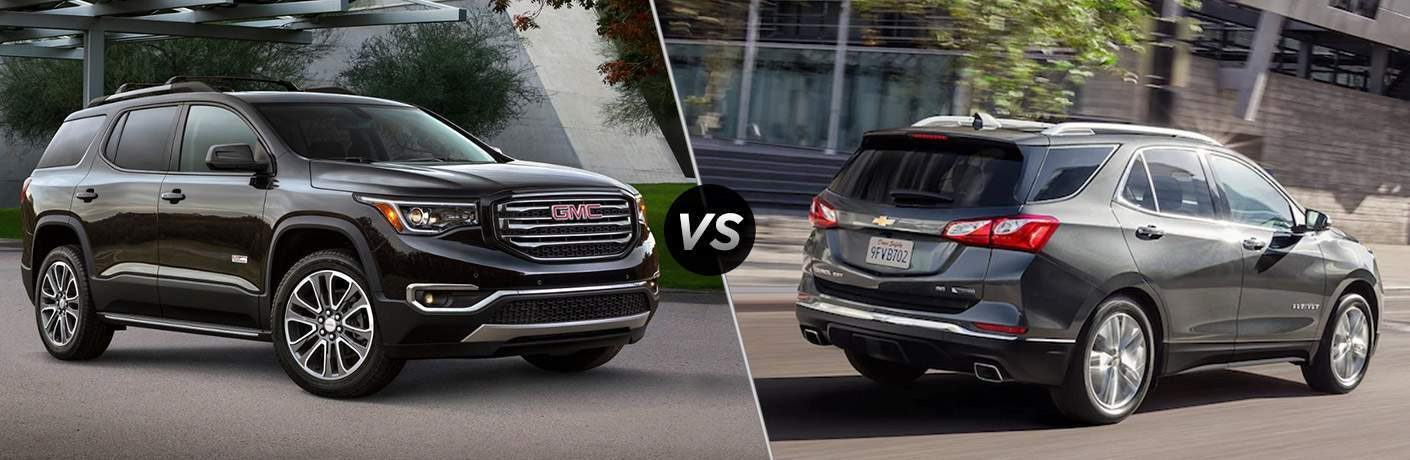 "Exterior view of a black 2018 GMC Acadia on the left ""vs"" an exterior view of a gray 2018 Chevy Equinox on the right"