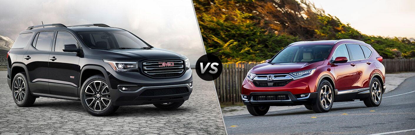 2018 GMC Acadia vs 2018 Honda CR-V with vs sign