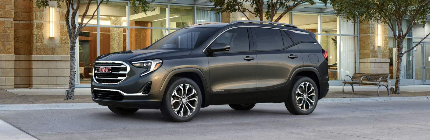 Driver side exterior view of a black 2018 GMC Terrain