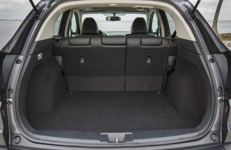Cargo area of the 2018 Honda HR-V with rear seats upright
