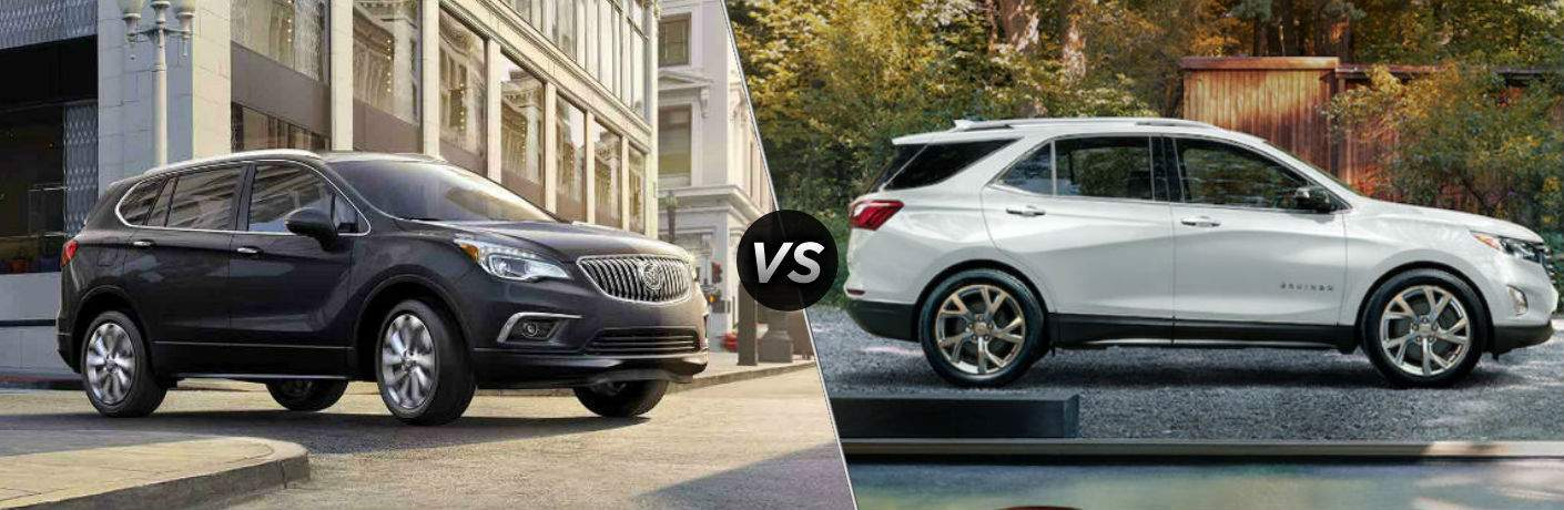 "Exterior side view of a black 2018 Buick Envision ""vs"" side exterior view of a white 2018 Chevy Equinox"