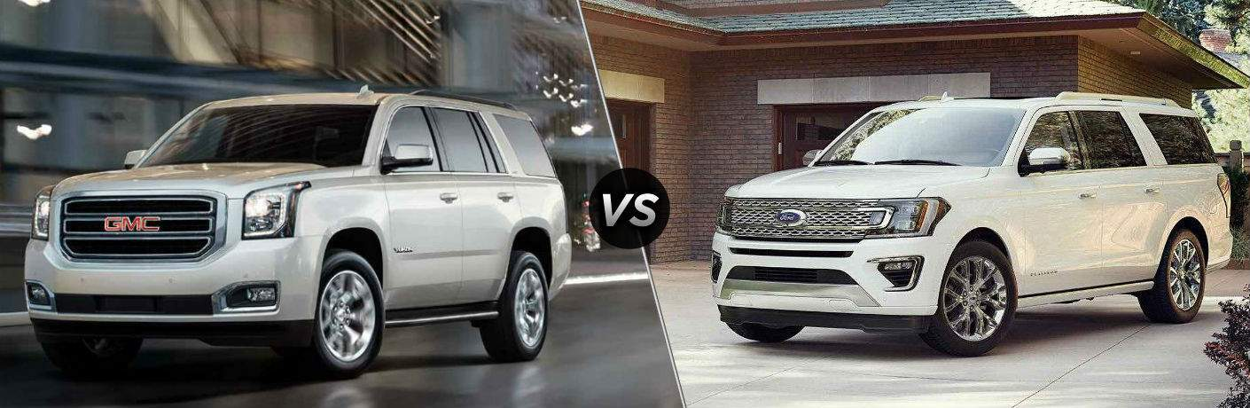 "exterior side view of a white 2018 GMC Yukon on the left ""vs"" side exterior view of a white 2018 Ford Expedition on the right"