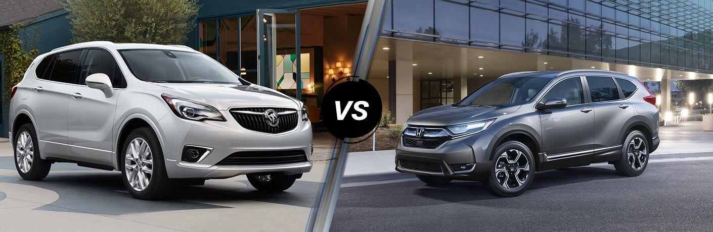 2019 Buick Envision next to a 2019 Honda CR-V