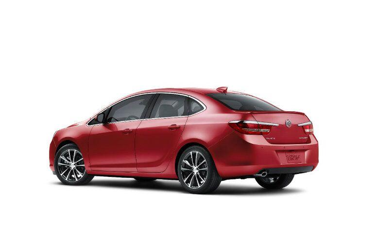 Rear profile of red 2016 Buick Verano