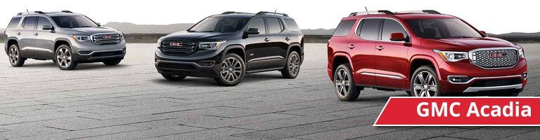 Front exterior views of a red, black, and gray GMC Acadia
