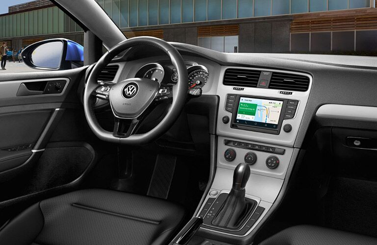 2017 VW Golf interior steering wheel and touchscreen