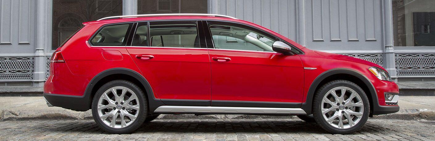 red 2017 VW Golf Alltrack exterior side