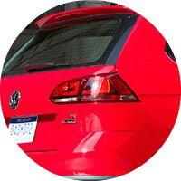 red 2017 VW Golf Alltrack rear