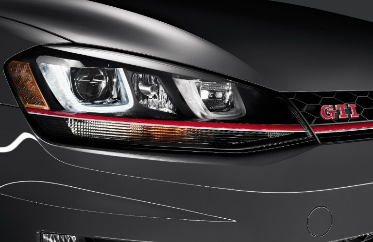 2017 VW Golf GTI headlight closeup