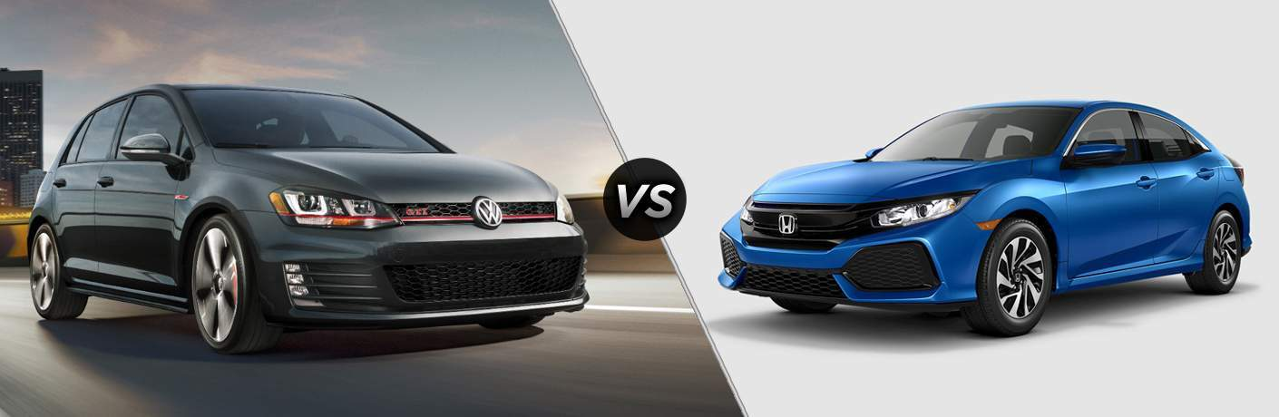 2018 Volkswagen Golf GTI parked on top of a parking garage vs 2018 Honda Civic parked in a white room