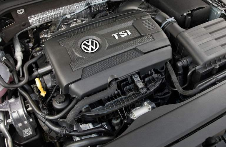 TSI engine under the hood of the 2018 Volkswagen Golf