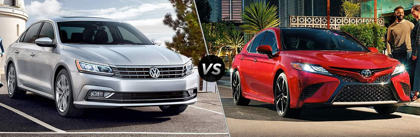 2018 Volkswagen Passat parked by a lighthouse vs 2018 Toyota Camry parked out side a building with palm trees in the background